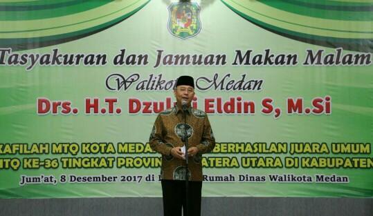 Walikota Medan Drs H T Dzulmi Eldin S M.SI Menggelar Tasyakuran dan Jamuan Makan Malam dengan seluruh kafilah dan Official